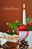 Christmas background, greeting card with burning candle Royalty Free Stock Image