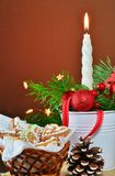 Christmas background, greeting card with burning candle Stock Photos