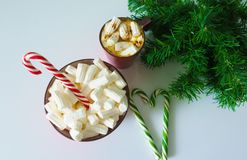 Christmas background, greeting card with a Cup of coffee or chocolate with marshmallows,candy canes, a red plate and tree branches royalty free illustration