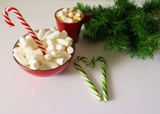 Christmas background, greeting card with a Cup of coffee or chocolate with marshmallows,candy canes, a red plate and tree branches. Christmas background Stock Photography