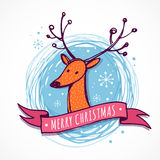 Christmas background and greeting card with cute deer Royalty Free Stock Photo
