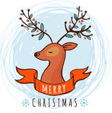 Christmas background and greeting card with cute deer Royalty Free Stock Images