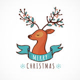 Christmas background and greeting card with cute deer Stock Photography