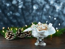 Christmas background, greeting card with lights Royalty Free Stock Image