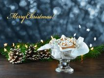 Christmas background, greeting card with lights Stock Photo