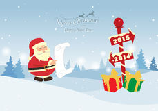Christmas background. Greeting card, Christmas and new year card with Santa Claus ,vector and illustration can be use for wallpaper, background, backdrop Royalty Free Stock Images