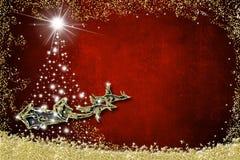 Free Christmas Background Greeting Card. Santa Claus Sleigh Stock Image - 133407741