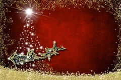Christmas background greeting card. Santa Claus sleigh royalty free illustration