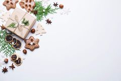 Christmas background, flat lay with copyspace stock images