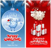 Christmas background. Christmas greeting cards with sheep, symbol of year 2015 Stock Images