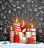 Christmas background with group of burning candles. Christmas background with group of burning red and white candles on black background with chalk doodles royalty free illustration