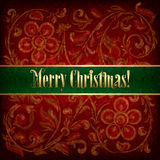 Christmas background with grunge floral ornament Royalty Free Stock Photo