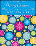 Christmas background with hand draw snowflakes, vector Stock Images
