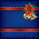 Christmas background with handbells. Abstract Christmas background with handbells and gift ribbons Stock Photos