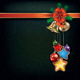 Christmas background with handbells. Abstract grunge Christmas background with handbells and decorations Stock Photo