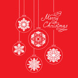 Christmas background with Handwritten Lettering MERRY CHRISTMAS. Happy Winter Holiday Wallpaper. Greeting card design with Snowflake Ball Decoration Royalty Free Stock Photo