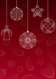 Christmas background with hanging balls , angel and star. Royalty Free Stock Photography