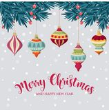 Christmas background with hanging balls vector illustration