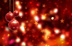 Christmas background with hanging baubles Stock Image