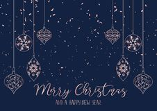 Christmas background with hanging decorations royalty free illustration
