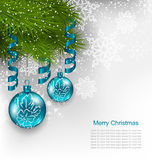 Christmas Background with Hanging Glass Balls Stock Photos