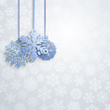Christmas background with hanging snowflakes Royalty Free Stock Photos