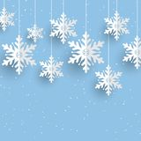 Christmas background with hanging snowflakes. Design vector illustration