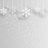 Christmas background with hanging snowflakes Stock Image