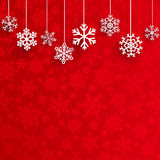 Christmas background with hanging snowflakes Stock Photo