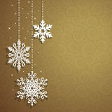 Christmas background with hanging snowflakes. Vector card Stock Photos