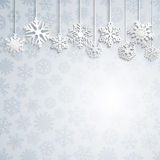 Christmas background with hanging snowflakes Royalty Free Stock Image