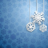 Christmas background with hanging snowflakes Stock Photos