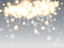 Christmas background. With hanging stars and balls Royalty Free Stock Photos