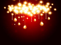 Christmas background. With hanging stars and balls Royalty Free Stock Photography
