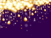 Christmas background. With hanging stars and balls Stock Images