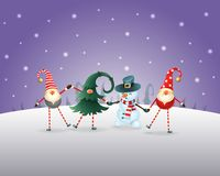 Christmas background. Happy friends three Gnomes and Snowman celebrate Christmas and New Year. Purple winter landscape. Christmas background. Happy friends three vector illustration