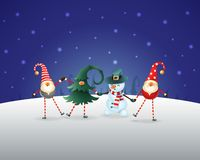 Christmas background. Happy friends three Gnomes and Snowman celebrate Christmas and New Year. Blue night winter landscape royalty free illustration