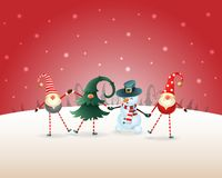 Christmas background. Happy friends three Gnomes and Snowman celebrate Christmas and New Year on red winter landscape vector illustration