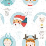 Christmas background. Happy new year vector background. Seamless christmas pattern with santa claus, sheep and cute children Stock Photo