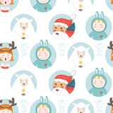 Christmas background. Happy new year vector background. Seamless christmas pattern with santa claus, sheep and cute children Royalty Free Stock Image
