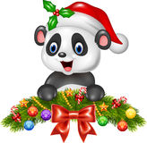 Christmas background with happy panda bear Royalty Free Stock Image