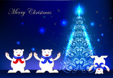 Christmas background with happy polar bears Stock Photo