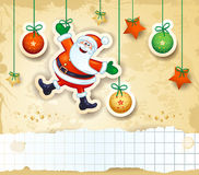 Christmas background with happy Santa and copy space Stock Photo