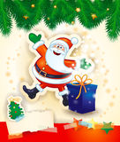 Christmas background with happy Santa, gift and copy space Stock Image