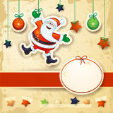 Christmas background with happy Santa and oval label Stock Image