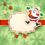 Christmas background with happy Santa on snow background Royalty Free Stock Images