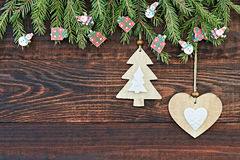 Christmas  background with heart and Christmas tree. New year.Copy space Stock Photo