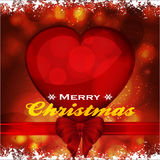 Christmas background with heart ribbon and bow Royalty Free Stock Photography