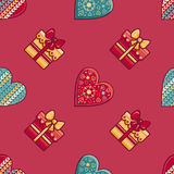 Christmas background. Hearts and gift box. Seamless pattern. Colorful vector. Image. Ornamental holiday texture Royalty Free Stock Photo