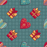 Christmas background. Hearts and gift box. Seamless pattern. Colorful vector. Image. Ornamental holiday texture Stock Photo